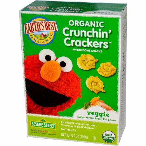 Earth's Best, オーガニック Crunchin' Crackers™, ベジースイートポテト, ブロッコリー & キャロット & , 5.3 オンス (150 g) (Discontinued Item)