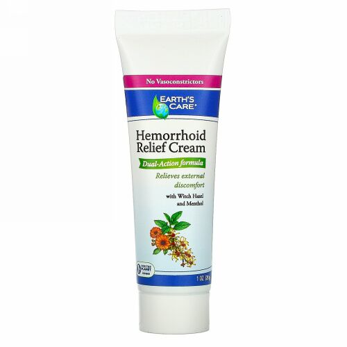 Earth's Care, Hemorrhoid Relief Cream, with Witch Hazel and Menthol, 1 oz (28 g)