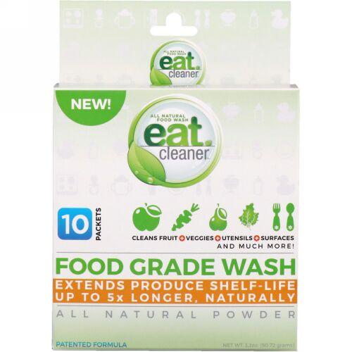 Eat Cleaner, フードグレードウォッシュ、総天然パウダー、10パケット、3.2オンス (90.72 g) (Discontinued Item)