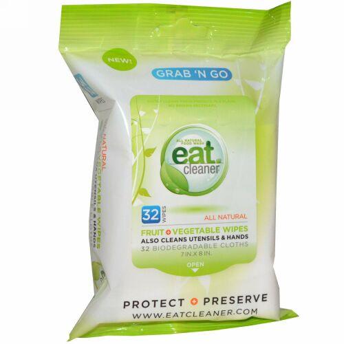Eat Cleaner, 携帯用、フルーツ + ベジタブル ワイプ、32枚、各7 X 8 インチ (Discontinued Item)