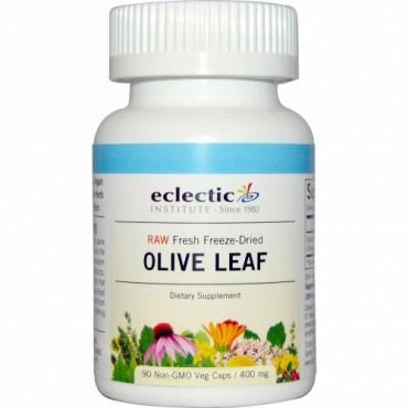 Eclectic Institute, オリーブの葉、 400 mg、 90 非遺伝子組換え植物性カプセル (Discontinued Item)