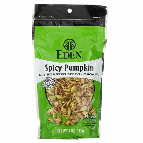 Eden Foods, オーガニック、スパイシーなかぼちゃのドライロースト種子、4オンス(113g)