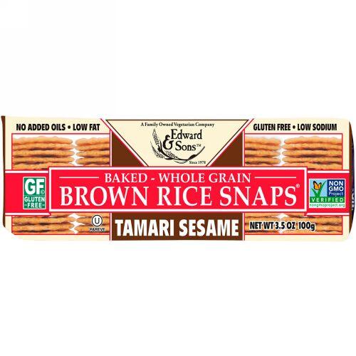 Edward & Sons, Baked Whole Grain Brown Rice Snaps, Tamari Sesame, 3.5 oz (100 g) (Discontinued Item)