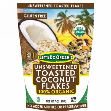 Edward & Sons, Edward & Sons, Let's Do Organic, 100% Organic Unsweetened Toasted Coconut Flakes, 7 oz (200 g)