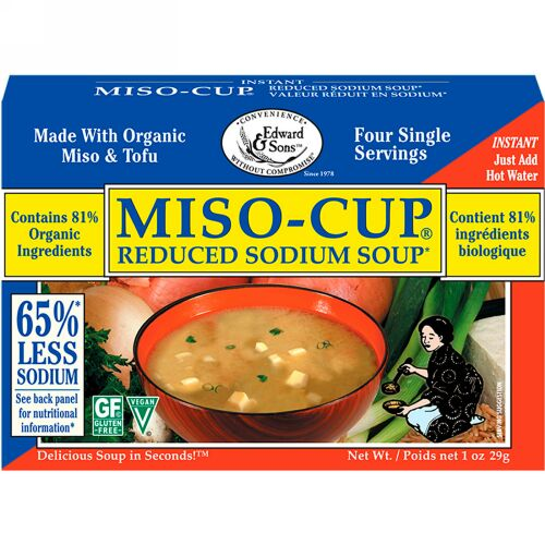Edward & Sons, Edward & Sons, Miso-Cup, Reduced Sodium Soup, 4 Single Serving Envelopes, 7.2 g Each (Discontinued Item)