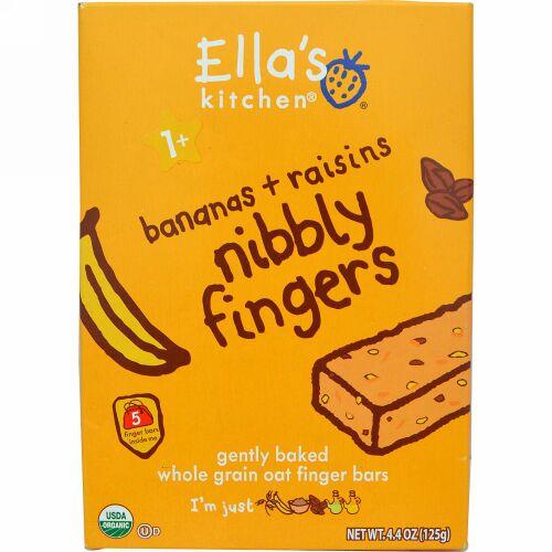 Ella's Kitchen, Nibbly Fingers, Bananas + Raisins, 5 Bars, 4.4 oz (125 g) (Discontinued Item)