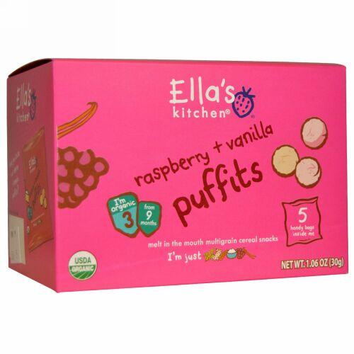 Ella's Kitchen, Raspberry + Vanilla Puffits, 5 Handy Bags, 1.06 oz (30 g) (Discontinued Item)