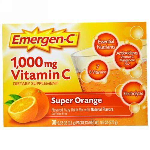Emergen-C, 1,000mgビタミンC、スーパーオレンジ、30袋、各9.1g(0.32oz)