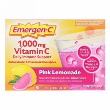 Emergen-C, 1,000 mg Vitamin C Daily Immune Support, Pink Lemonade, 30 Packets, 0.33 oz (9.4 g) Each