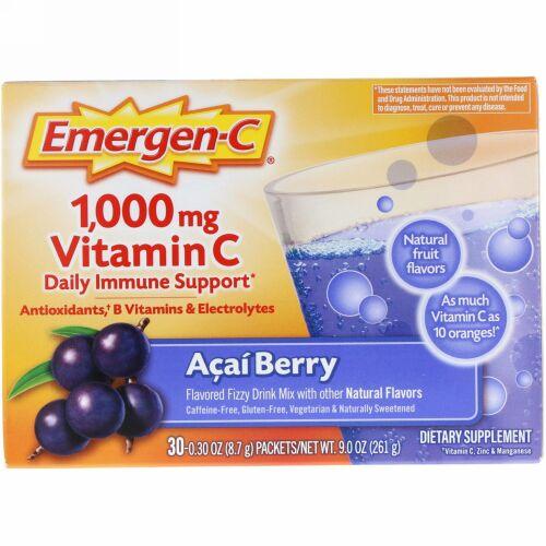 Emergen-C, 1,000 mg ビタミン C, アサイ ベリー, 30パック, 各 8.4 g