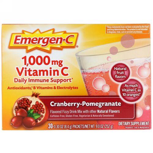 Emergen-C, ビタミンC、クランベリー-ザクロ、1,000mg、30袋、各8.4g(0.30oz)