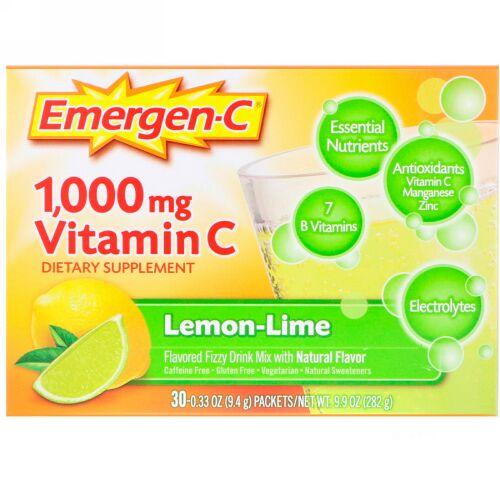 Emergen-C, ビタミンC、味付き炭酸飲料ミックス、レモンライム、1,000mg、30袋、各0.33 oz (9.4 g)