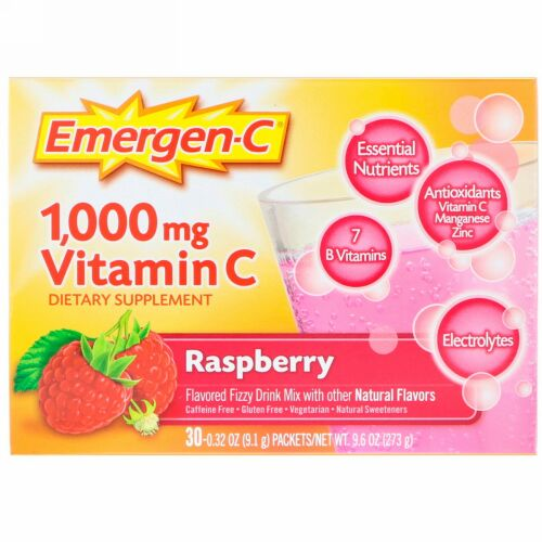 Emergen-C, Vitamin C, Flavored Fizzy Drink Mix, Raspberry, 30 Packets, 0.32 oz (9.1 g) Each