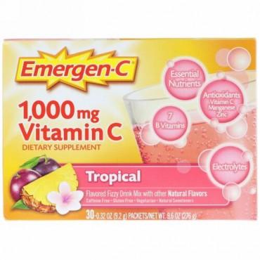 Emergen-C, 1,000 mg ビタミン C、トロピカル、30 袋、各 9.0 g