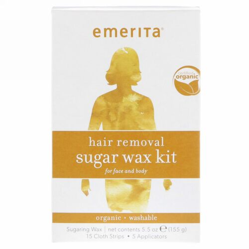 Emerita, Hair Removal Sugar Wax kit for Face and Body, Organic, 5.5 oz (155 g) (Discontinued Item)