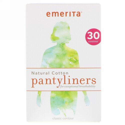 Emerita, ナチュラルコットンパンティーライナー、クラシックコントゥア、30パンティーライナー (Discontinued Item)