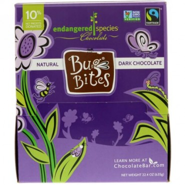 Endangered Species Chocolate, バグバイツ、ナチュラルダークチョコレート、22.4 oz (635 g) (Discontinued Item)