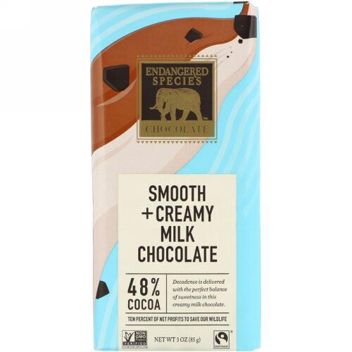 Endangered Species Chocolate, スムース&クリーミーミルクチョコレート、カカオ48%、85g(3オンス)