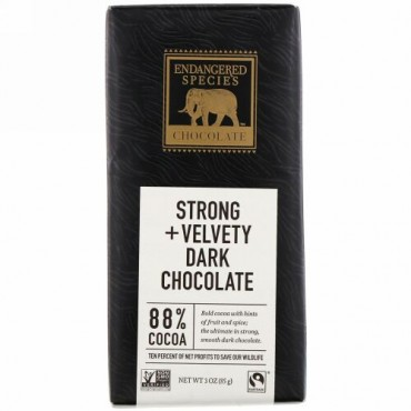 Endangered Species Chocolate, ストロング+ベルベッティダークチョコレート、カカオ88%、85g(3オンス)