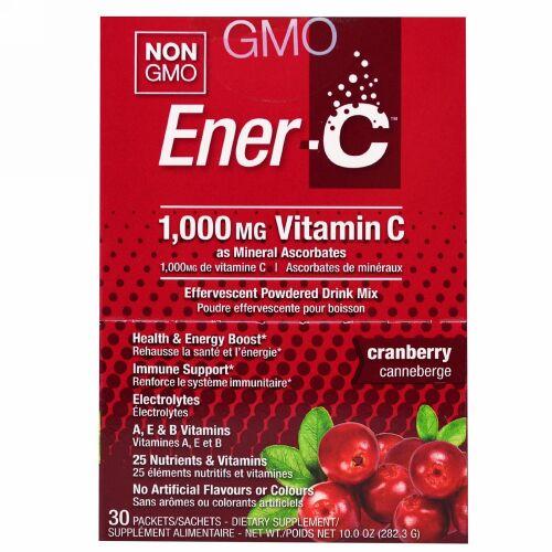Ener-C, ビタミンC、発泡性粉末飲料ミックス、クランベリー、30包、10.0オンス(282.3g)