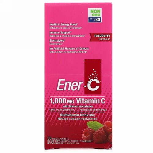 Ener-C, ビタミンC、マルチビタミンドリンクミックス、ラズベリー、30袋、277g(9.8オンス)