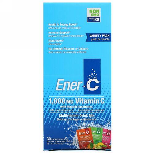 Ener-C, ビタミンC、マルチビタミンドリンクミックス、バラエティパック、30包、9.9オンス( 282.9g )