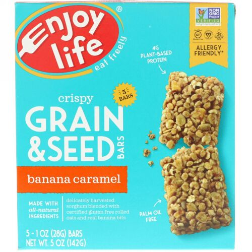 Enjoy Life Foods, クリスピー穀物 & シードバー、バナナキャラメル、5本、各1オンス (28 g) (Discontinued Item)
