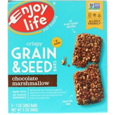 Enjoy Life Foods, クリスピー穀物・種子バー、チョコレートマシュマロ、5本、各1 oz (28 g) (Discontinued Item)
