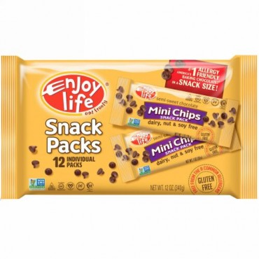 Enjoy Life Foods, セミスイート・チョコレート、ミニチップ・スナックパック、個別包装12個、1オンス(28 g) (Discontinued Item)