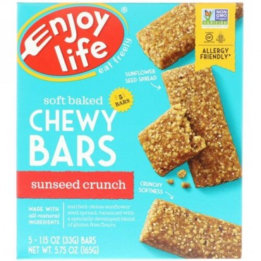Enjoy Life Foods, Baked Chewy Bars, SunSeed Crunch, 5 Bars, 1 oz (28 g) Each (Discontinued Item)