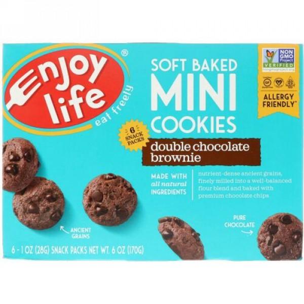 Enjoy Life Foods, ソフトベークドミニクッキー、ダブルチョコレートブラウニー、スナックパック6袋、1袋28g(1 oz)