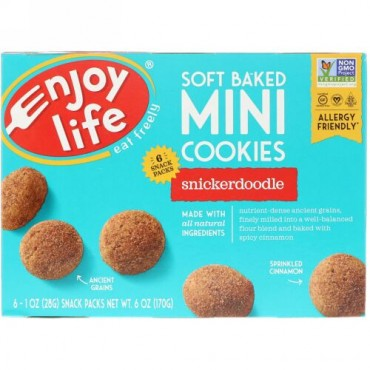 Enjoy Life Foods, Soft Baked Mini Cookies, Snickerdoodle, 6 Snack Packs, 1 oz (28 g) Each (Discontinued Item)