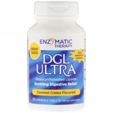 Enzymatic Therapy, DGL ウルトラ、キャラメル・クリーム味、チュアブル・タブレット90 錠 (Discontinued Item)