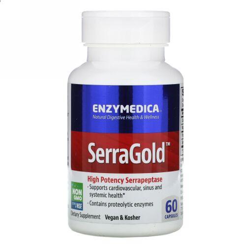 Enzymedica, SerraGold, 高活性セラペプターゼ(Serrapeptase), 60カプセル