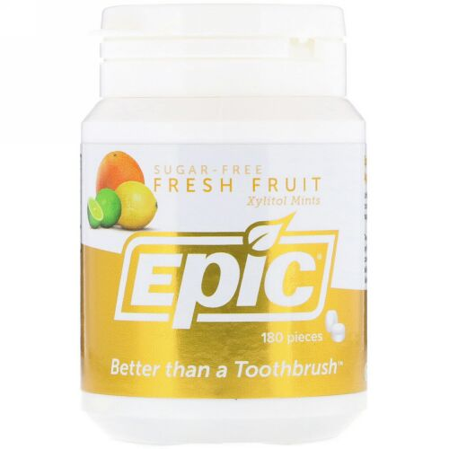 Epic Dental, 100% キシリトール使用、 フレッシュ フルーツ ミント、 180 個