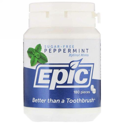 Epic Dental, キシリトールミント、無糖、ペパーミント、180個