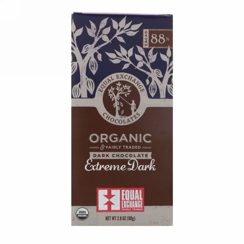 Equal Exchange, Organic, Dark Chocolate, Extreme Dark, 88% Cacao, 2.8 oz (80 g)