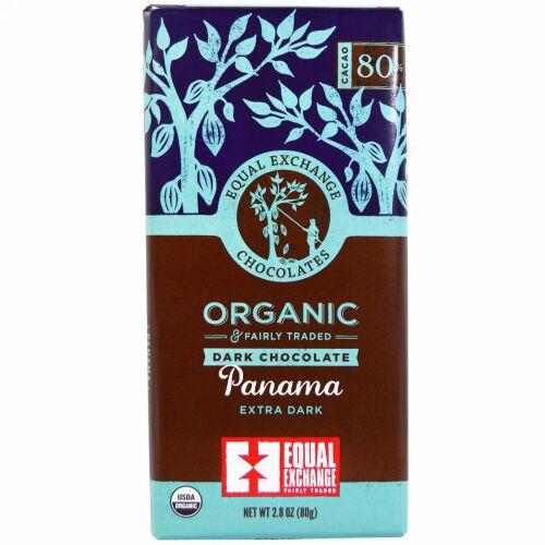 Equal Exchange, オーガニック、ダークチョコレート、パナマエクストラダーク、カカオ80%、80g(2.8オンス)