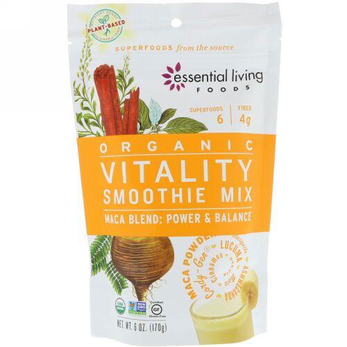 Essential Living Foods, オーガニック、バイタリティ・スムージーミックス、マカブレンド、パワー&バランス、6オンス (170g) (Discontinued Item)