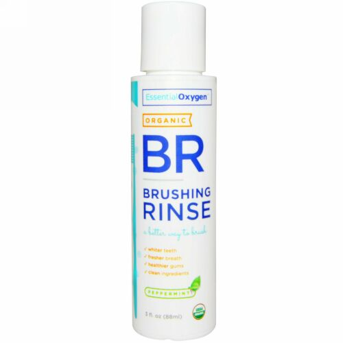 Essential Oxygen, オーガニック・ブラッシングリンス、 ペパーミント、 3 液量オンス (88 ml) (Discontinued Item)
