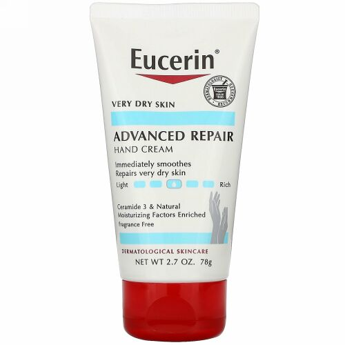 Eucerin, アドバンスリペア ハンドクリーム 無香料 2.7 oz (78 g)
