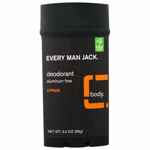 Every Man Jack, デオドラント、シトラス、3.0オンス(88g) (Discontinued Item)