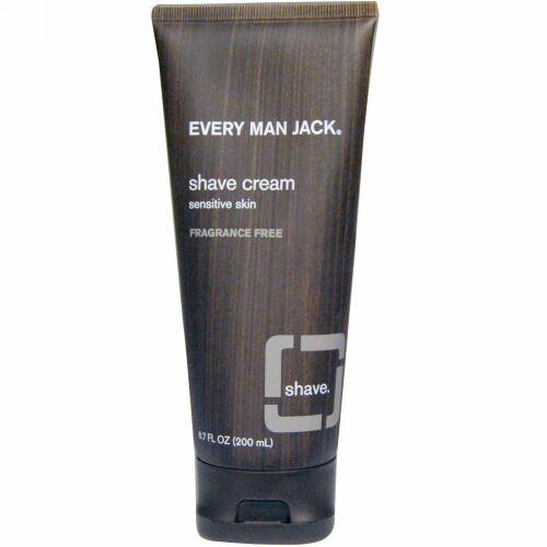 Every Man Jack, シェイブクリーム, 敏感肌, 無香料, 6.7 液量オンス (200 ml) (Discontinued Item)