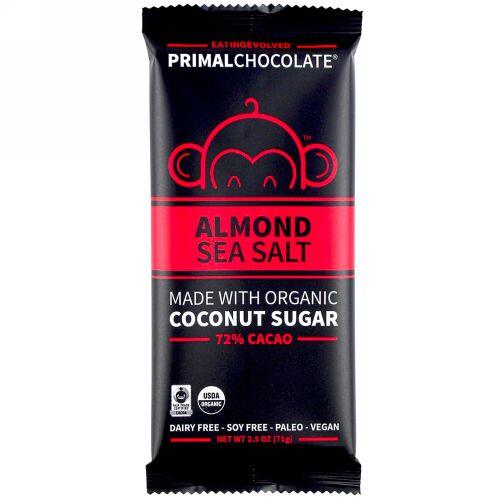 Evolved Chocolate, プライマルチョコレート、アーモンド&シーソルト72%カカオ、2.5 oz (71 g) (Discontinued Item)