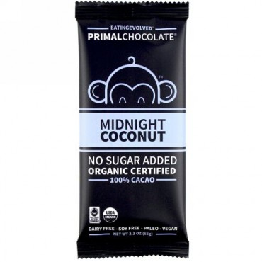Evolved Chocolate, PrimalChocolate, Midnight Coconut 100% Cacoa, 2.3 oz (65 g) (Discontinued Item)