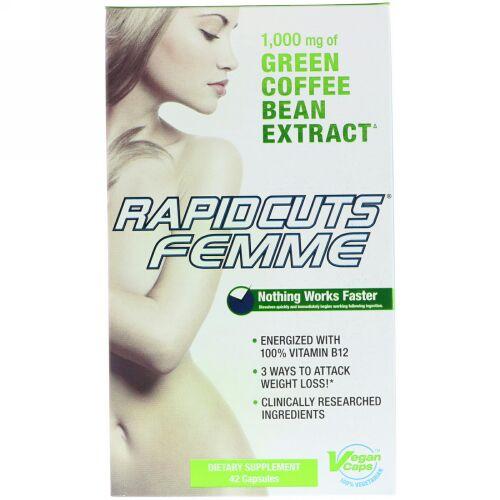 FEMME, ラピッドカッツ・フェム、減量効果のあるグリーンコーヒー(ビタミンB12入り)、カプセル42粒 (Discontinued Item)