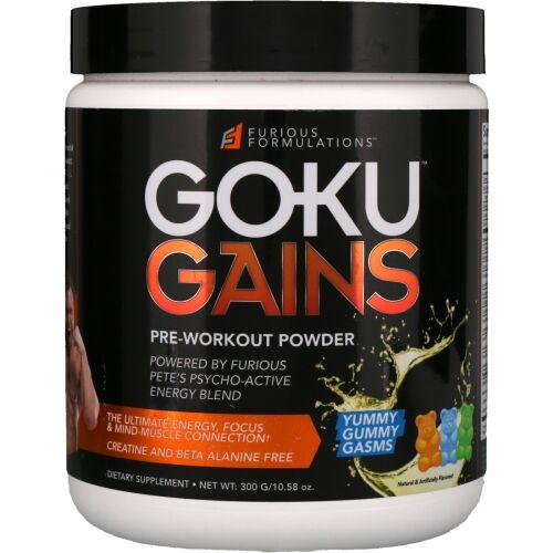 FURIOUS FORMULATIONS, Gokuゲインズプレワークアウトパウダー、ヤミーガミーガスムズ、10.58オンス (300 g) (Discontinued Item)