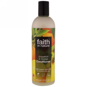 Faith in Nature, コンディショナー、ノーマルからオイルヘア向け、グレープフルーツ&オレンジ、13.5液体オンス(400ml) (Discontinued Item)