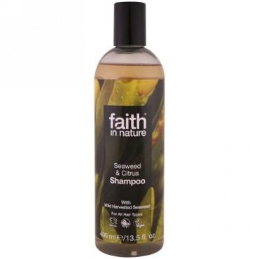 Faith in Nature, シャンプー、全ての髪質向け、海草&シトラス、13.5液体オンス(400ml) (Discontinued Item)