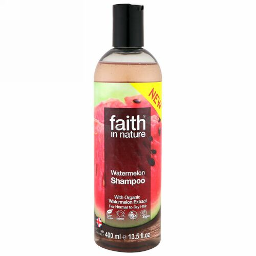 Faith in Nature, Shampoo, For Normal to Dry Hair, Watermelon, 13.5 fl oz (400 ml) (Discontinued Item)